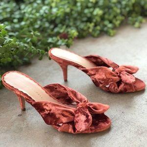 Loeffler Randall Luisa Knotted Velvet Bow Sandals